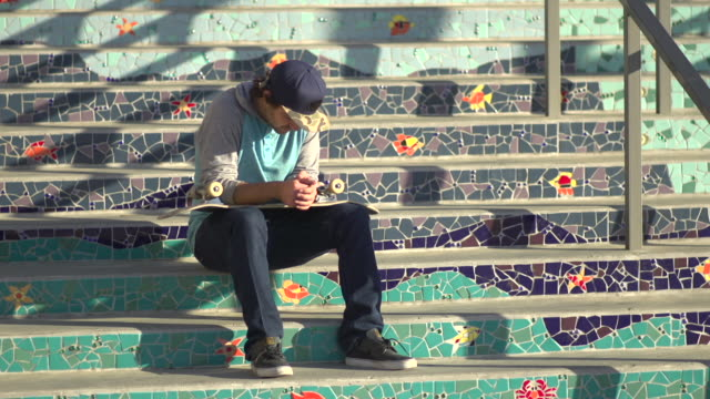 A young man skateboarding. - Slow Motion