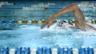 HD SLOW MOTION: Young Man Swimming Front Crawl