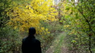 Young man walks in autumn forest.