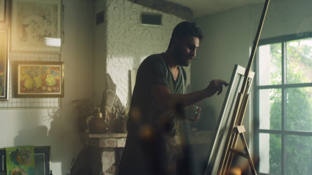 Young painter working