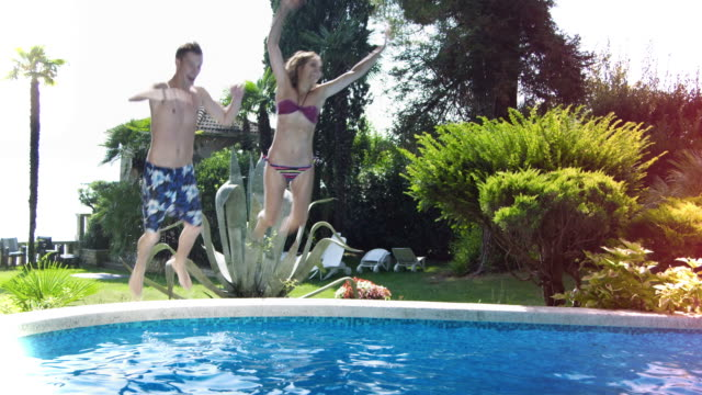 Young people having fun at the pool (Compilation)