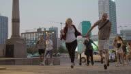 Young people having fun on the street