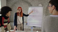 Young redhead businesswoman presenting her colleagues new business plan on a meeting.