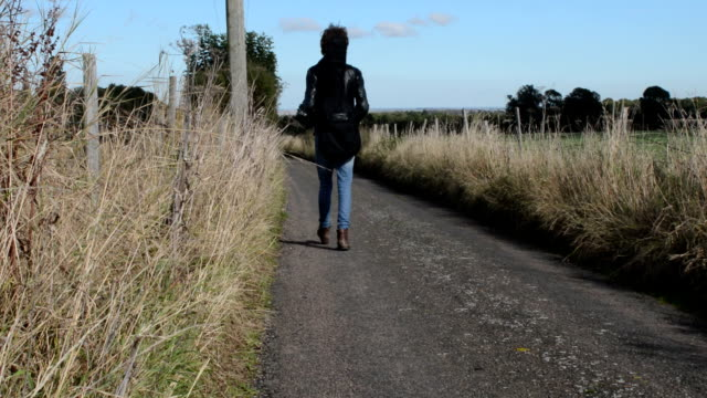 Young rock musician walks lonely country road