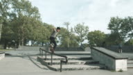 A young skateboarder in a Queens, NYC skatepark - 4k slow motion.