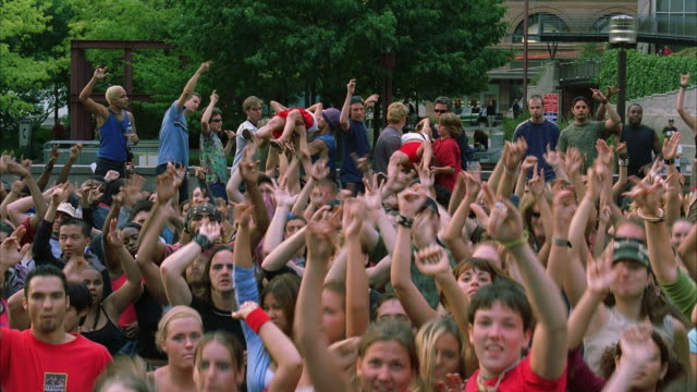 WS HA Young Street Audience Jumping And Waving / New York City, New York, USA
