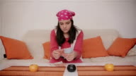 young teenage girl counts allowance