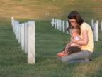 Junge Frau und Sohn Besuchen Sie das Grab NTSC