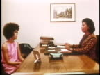 1971 MONTAGE CU MS Young woman applying for a job / USA / AUDIO