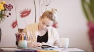 SLO MO Young woman coloring