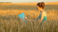 Young woman drawing outdoors in wheat field
