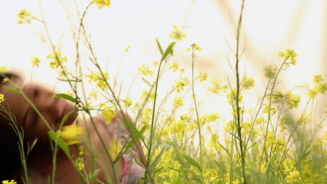 Young woman enjoying in the mustard field, Haryana, India