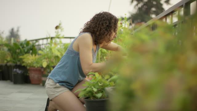 Jonge vrouw in haar tuin tuinieren