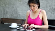 young woman got headache after using digital tablet computer