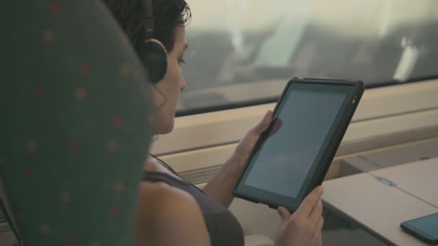 Young woman reading with a tablet and travelling by train