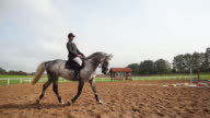 Young woman riding hors