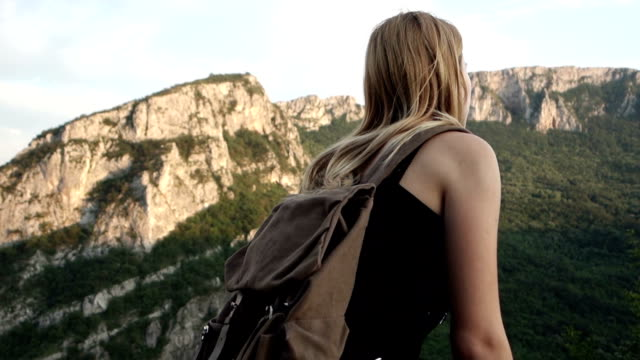 Young woman trekking