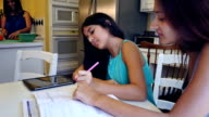 Young woman tutoring her preteen sister at home in family kitchen
