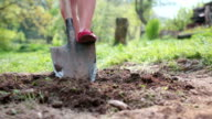 Young woman wearing red pumps digging flower or vegetable bed