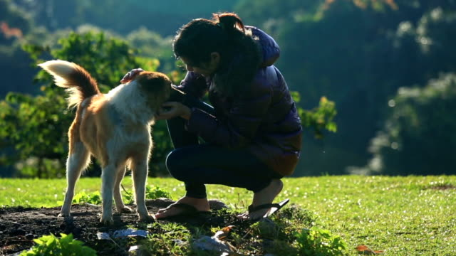 Young Woman with happy dog in the morning