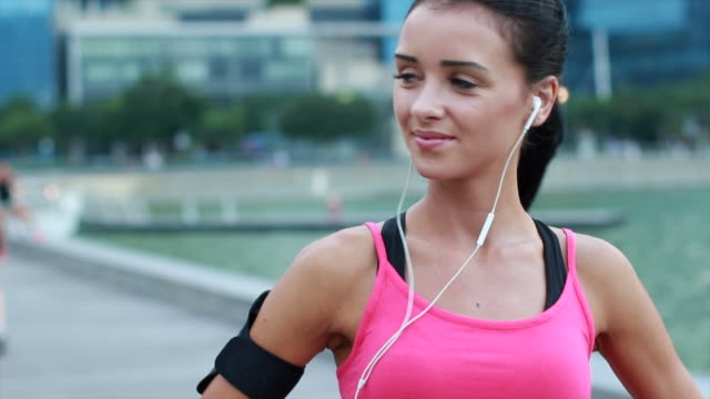CU Young woman working out in the city.