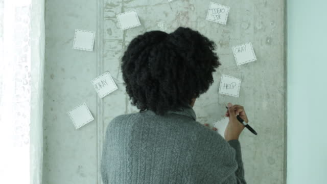 Young woman writes on post its on wall.