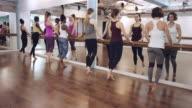 Jonge vrouwen doen oefening vervolgens naar spiegel