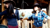 Young women on horse ranch