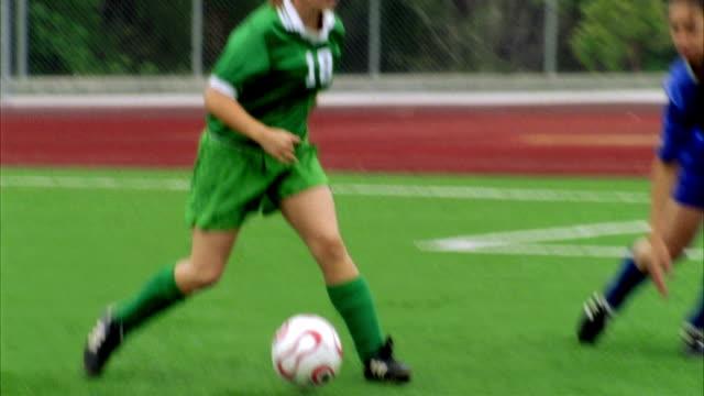 SLO MO, MS, CU, FOCUSING, PAN, Young women playing soccer, Biola University, La Mirada, California, USA