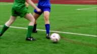 SLO MO, MS, CU, PAN, Young women playing soccer, Biola University, La Mirada, California, USA