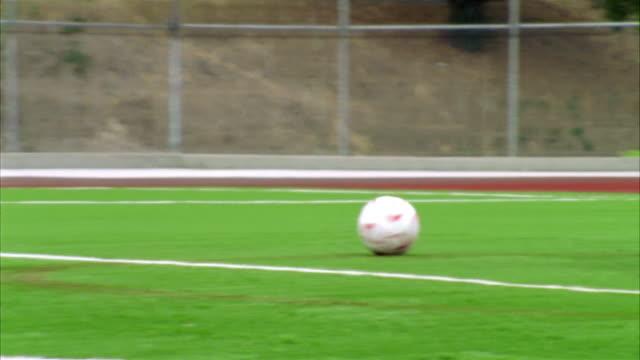 SLO MO, CU, ZI, ZO, Young women playing soccer, Biola University, La Mirada, California, USA