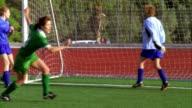 SLO MO, MS, ZI, CU, Young women playing soccer, scoring goal and cheering, Biola University, La Mirada, California, USA