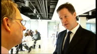 Nick Clegg visits Newham College Nick Clegg interview SOT on economy and risk of recession on excessive pay of some company directors and bonuses on...