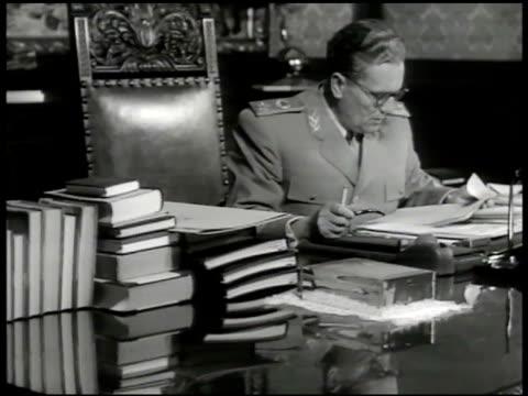 Yugoslavia dictator Josip Tito at desk w/ paperwork smoking pipe Tito's Villa Communist Belgrade Yugoslavia