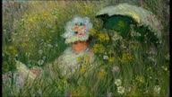 Yves St Laurent collection French Impressionist painting by Claude Monet on wall seen through large sculpture / Painiting of man in hat by Pablo...