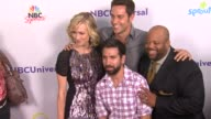 Yvonne Strahovski Zachary Levi Joshua Gomez Mark Christopher Lawrence at the NBC Universal Press Tour AllStar Party at Los Angeles CA