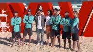 Zac Efron Alexandra Daddario meet Bondi Lifeguards during a photo call for Baywatch at Bondi Beach on May 17 2017 in Sydney Australia