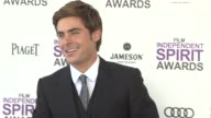 Zac Efron at the 2012 Film Independent Spirit Awards Arrivals on 2/25/12 in Santa Monica CA