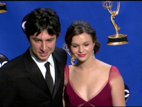 Zach Braff and Amber Tamblyn presenters of Outstanding Supporting Actress in a Drama Series at the 2004 Primetime Emmy Awards press room at the...