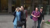 Zach Braff leaving SiriusXM Satellite Radio and stops to pose for a photo with for fan Celebrity Sightings in New York on July 14 2014 in New York...