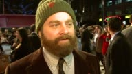 Zach Galifianakis on the difference of doing stand up and movies working with Robert Downey Jr how the movie is different at the Due Date UK Premiere...