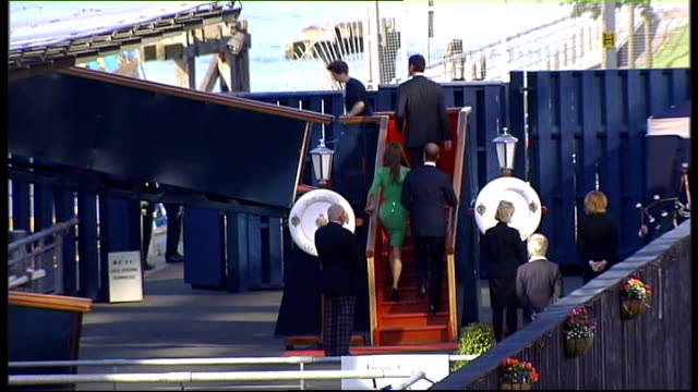 Zara Phillips prewedding reception on royal yacht Britannia SCOTLAND Edinburgh EXT Zara Phillips and her fiance Mike Tindall up steps to former Royal...