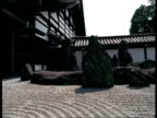 A zen garden graces the front of a pagoda in Japan.