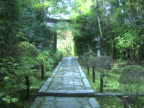 NTSC Zen garden in Kyoto with tori gate