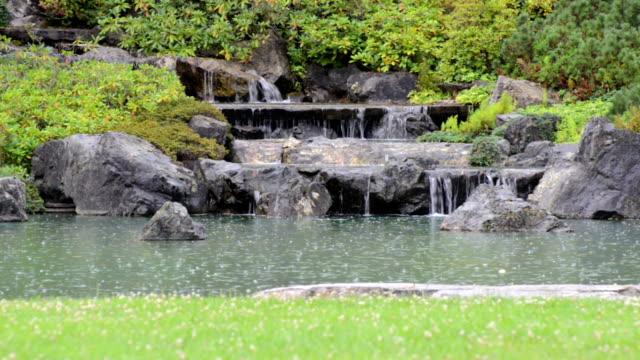Zen garden under the rain