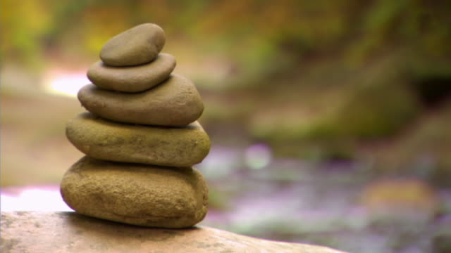 CU, SELECTIVE FOCUS, Zen stones by creek  in forest, Phoenicia, New York, USA