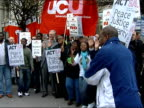 London protests ENGLAND London Zimbabwe Embassy EXT Demonstrators singing and chanting some holding union placards in support of Zimbabwe unions