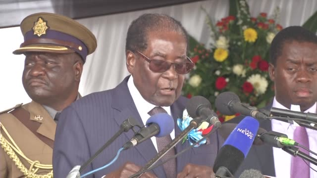Zimbabwean President Robert Mugabe attends the ceremony renaming the capital's airport in his honour