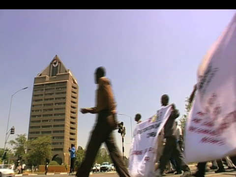 Zimbabweans take to streets in protest against President Robert Mugabe Zimbabwe 15 September 2009