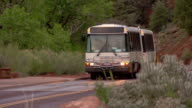 Zion National Park shuttle bus stopping at Canyon Junction shuttle stop